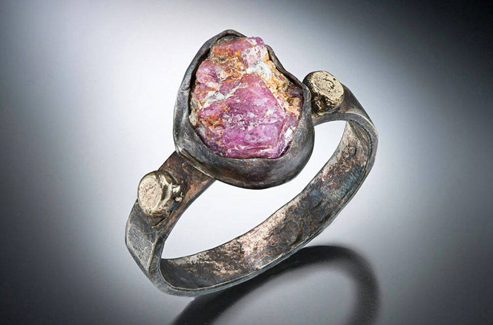 Jane Merrills - Raw ruby oxidized silver 14k gold ring