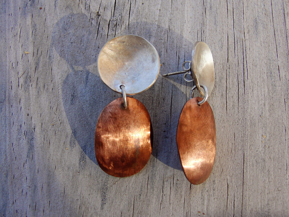 Janet Graham - Sterling and Copper Domed Earrings