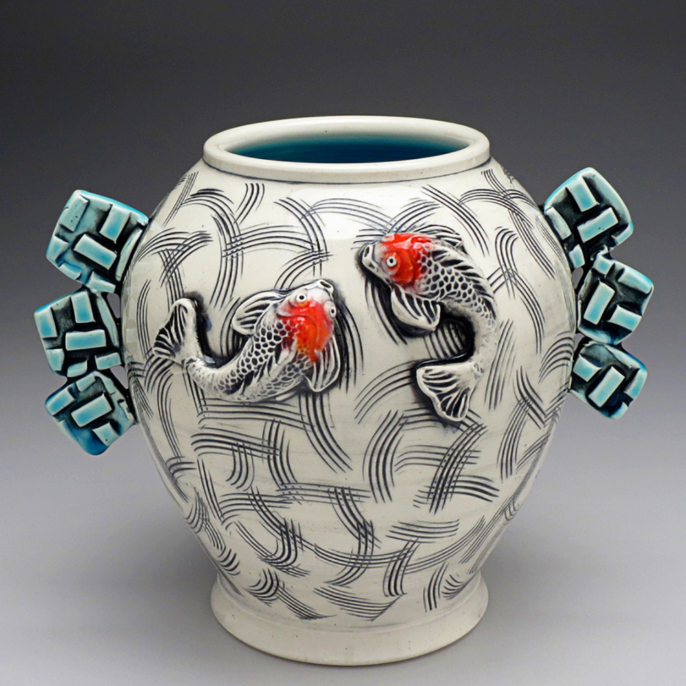 Joseph Pelka - White and Black Scratch Koi Vessel with Blue Wings