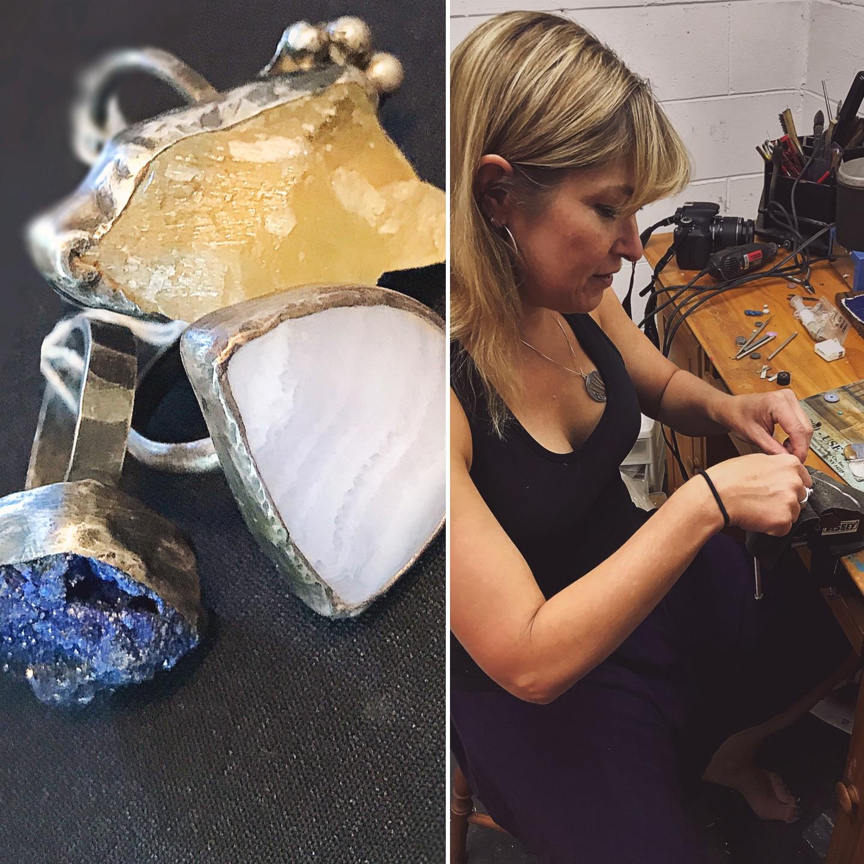 Jane Merrills Working on Jewelry